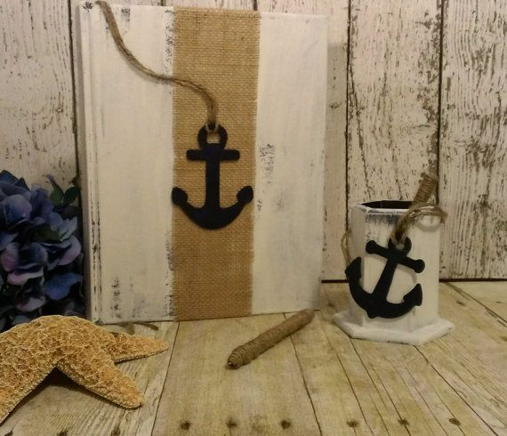 Personalized beach wedding guest book, nautical wedding book, sea side wedding anchor wedding decor on Etsy, $40.00