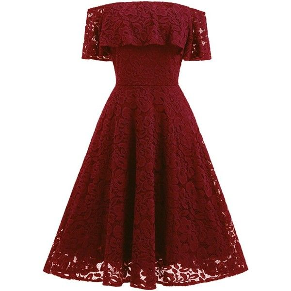 Partiss Women's Vintage 1950s Off Shoulder Lace Cocktail Evening Dress ($30) ❤ liked on Polyvore featuring dresses, red evening dresses, off the shoulder dress, lace dress, holiday cocktail dresses and red dress