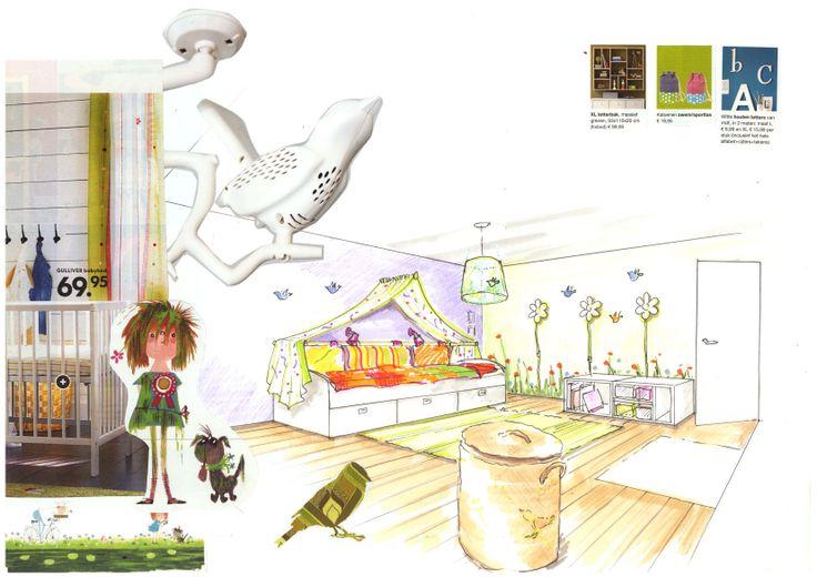 "Ontwerp meisjeskamer kleuter thema ""Floddertje"" van Annie M.G. Schmiedt, door Ria Bernards, Ridesign"