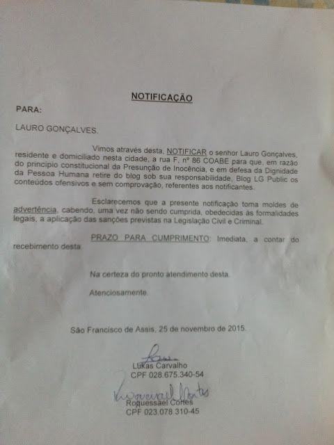 BLOG LG PUBLIC: NOTIFICAÇÃO PARA ME CALAR!!!