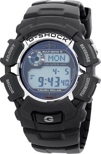 Casio - Men's G-Shock Solar Atomic Digital Sports Watch - Black - Angle