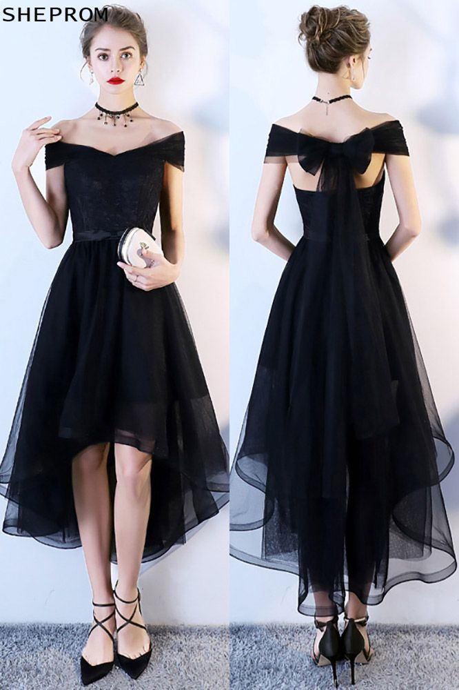 Black Tulle High Low Homecoming Dress Off Shoulder Sleeves Trendy Dress Styles Short Dresses Homecoming Dresses