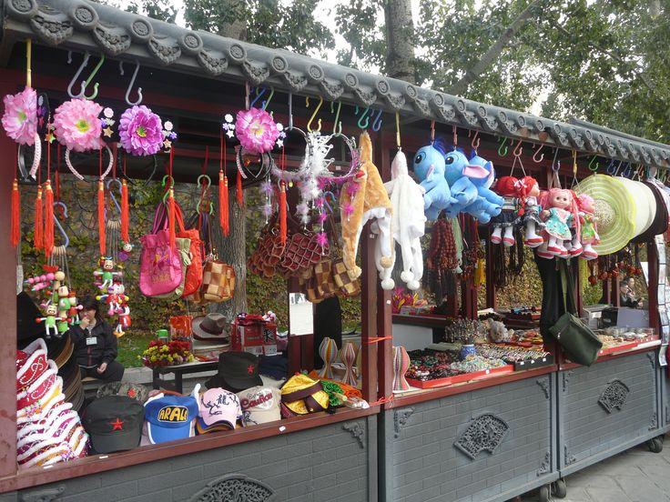 Items for sale at Lake Kunming, Summer Palace, Beijing, China. October 2011