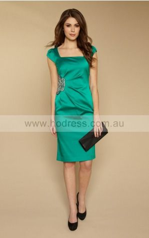 Short Sleeves Zipper Square Knee-length Satin Formal Dresses d130622022--Hodress