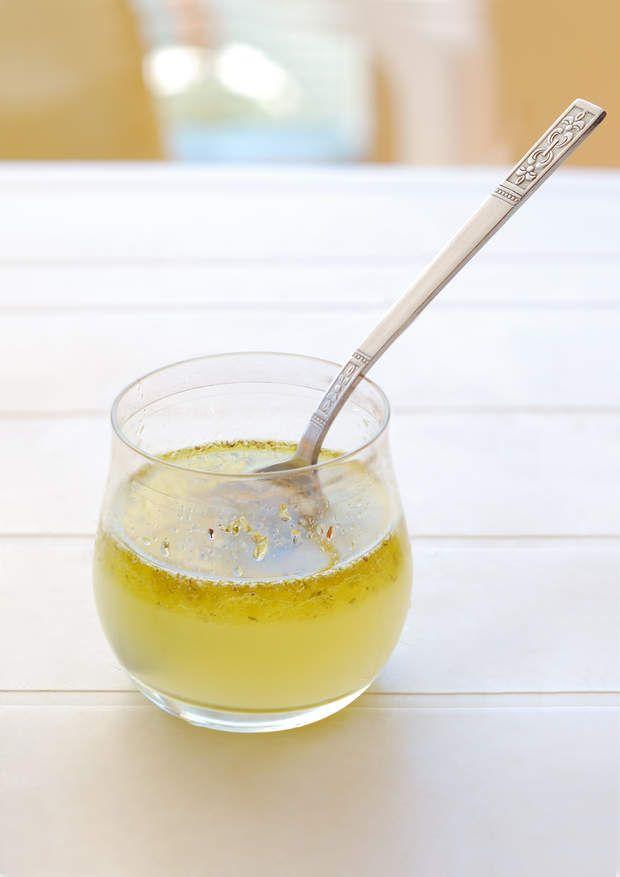 Vinaigrette1 portion1 cuil. à café d'huile d'olive   1 cuil. à café d'eau   1 filet de jus de citron   1 filet de sauce soja.