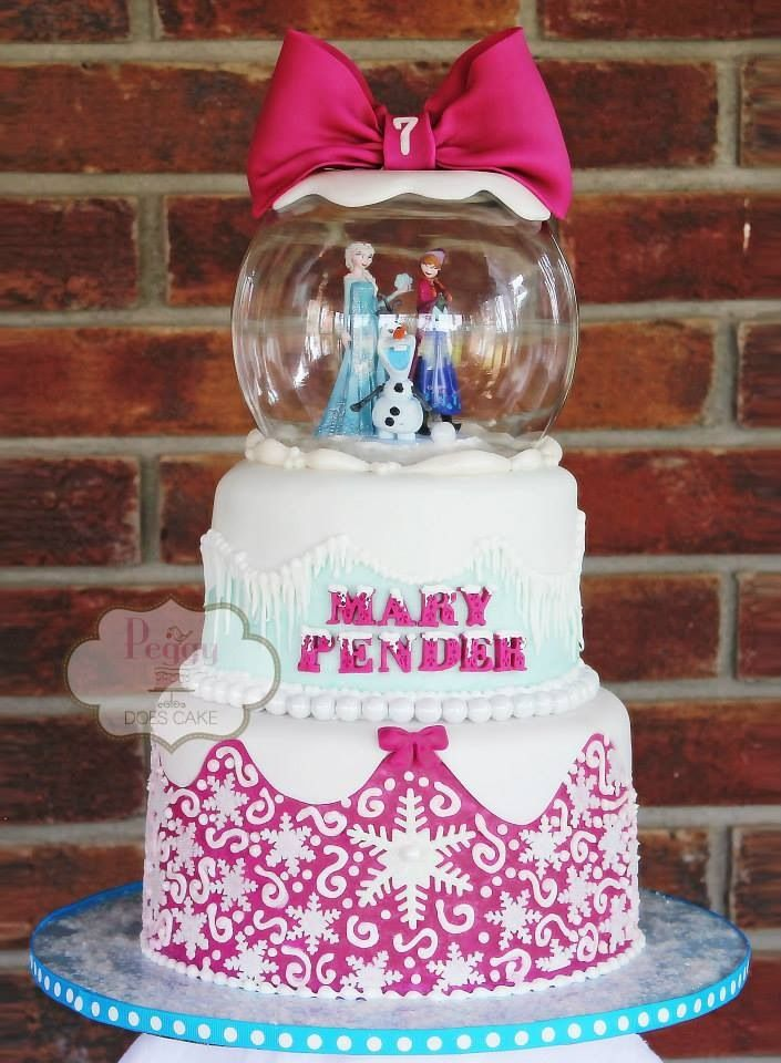 """Frozen birthday party. Awesome  frozen cake, love the """"snow globe"""" with Anna, Elsa & Olaf."""