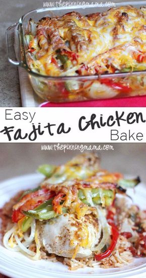 Quick and Healthy Dinner Recipes - Easy Fajita Chicken Bake - Easy and Fast Recipe Ideas for Dinners at Home - Chicken, Beef, Ground Meat, Pasta and Vegetarian Options - Cheap Dinner Ideas for Family, for Two , for Last Minute Cooking http://diyjoy.com/qu
