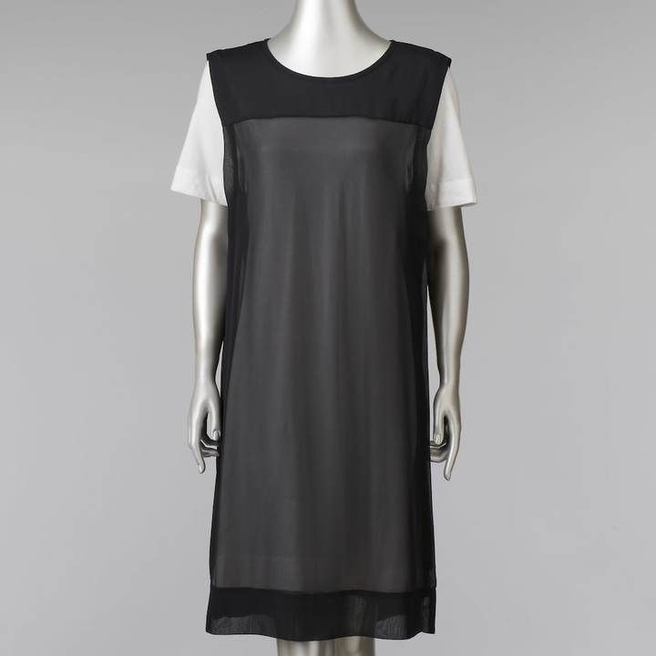 Simply Vera Vera Wang Women's Simply Vera Vera Wang Mock-Layer Colorblock T-Shirt Dress