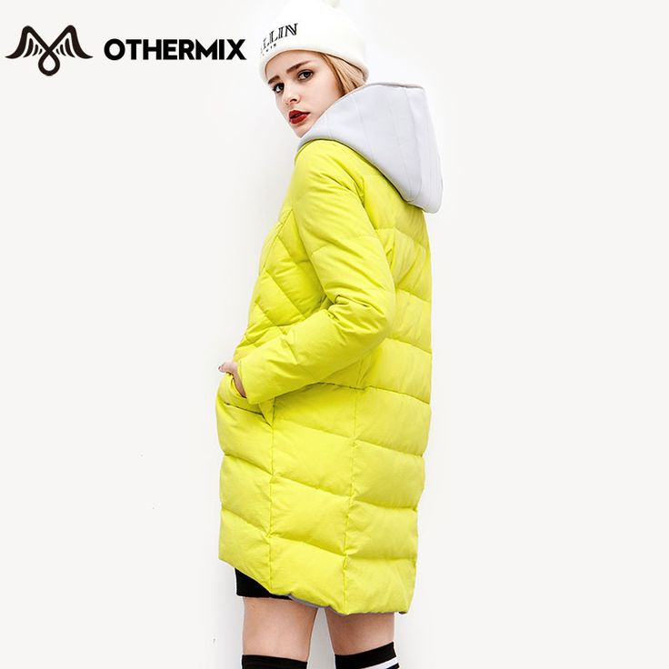 Othermix 2015 новых зимних женщин вниз марка серый желтая кофта сращены толщиной с капюшоном 80% утка пуховик мода женский вниз парки купить на AliExpress