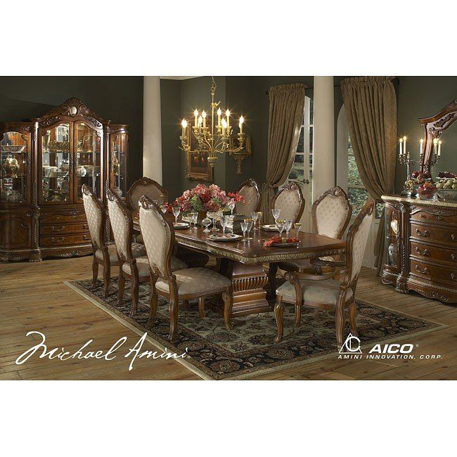 Traditional Dining Chairs, Aico Cortina Dining Room Set