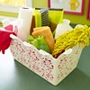 Great idea for keeping cleaning supplies together.  Should make cleaning more fun with something pretty!