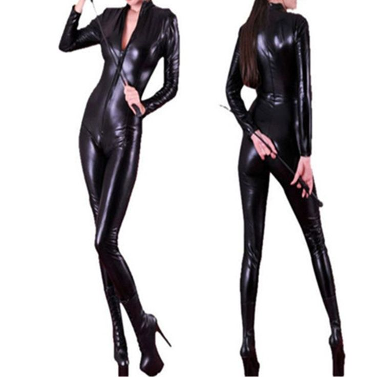 Long Sleeve Jumpsuit 2016 Hot Sexy Women Body Suits Fetish Leather Black Catwomen Jumpsuit Spandex Latex PVC Catsuit Costumes #Affiliate