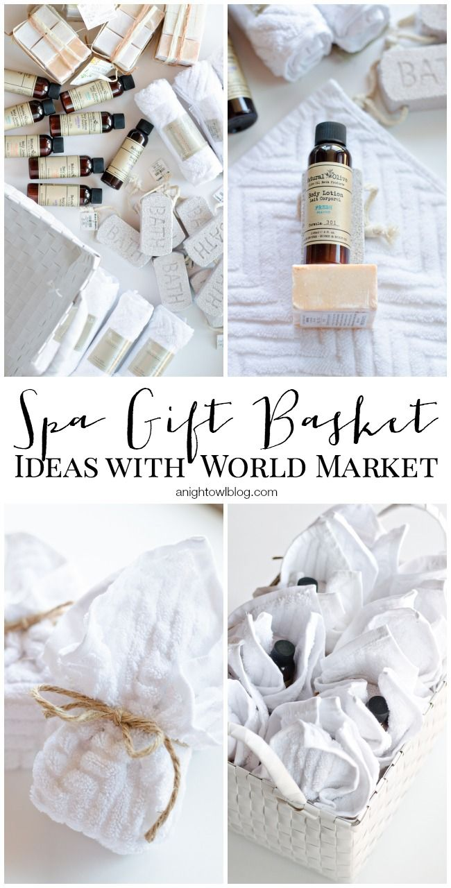 Spa Gift Basket Ideas via A Night Owl >> #WorldMarket Share the Joy -- Mini spa gifts donated to a domestic violence shelter.