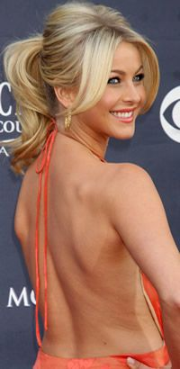 Julianne Hough ponytail hairstyle w/ long bangs