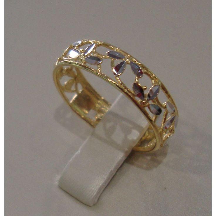 Anello a fascia traforato in oro giallo, bianco 18 kt Misura 19 GioielliVarlotta