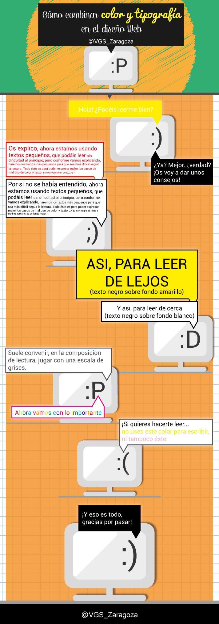 Infografia sobre la combinación entre los colores de la tipografía y el color de la web