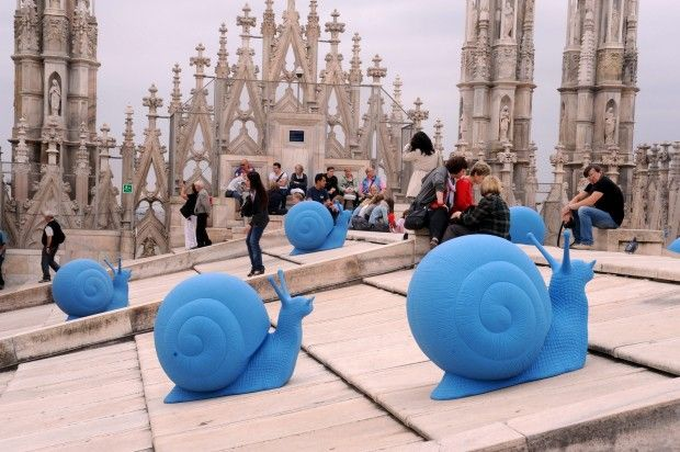 Snails hard at work on top of Duomo, Milano :)