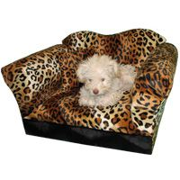 Fantasy Furniture Homey Sofa in Leopard Stripe, Small, Color: Orange
