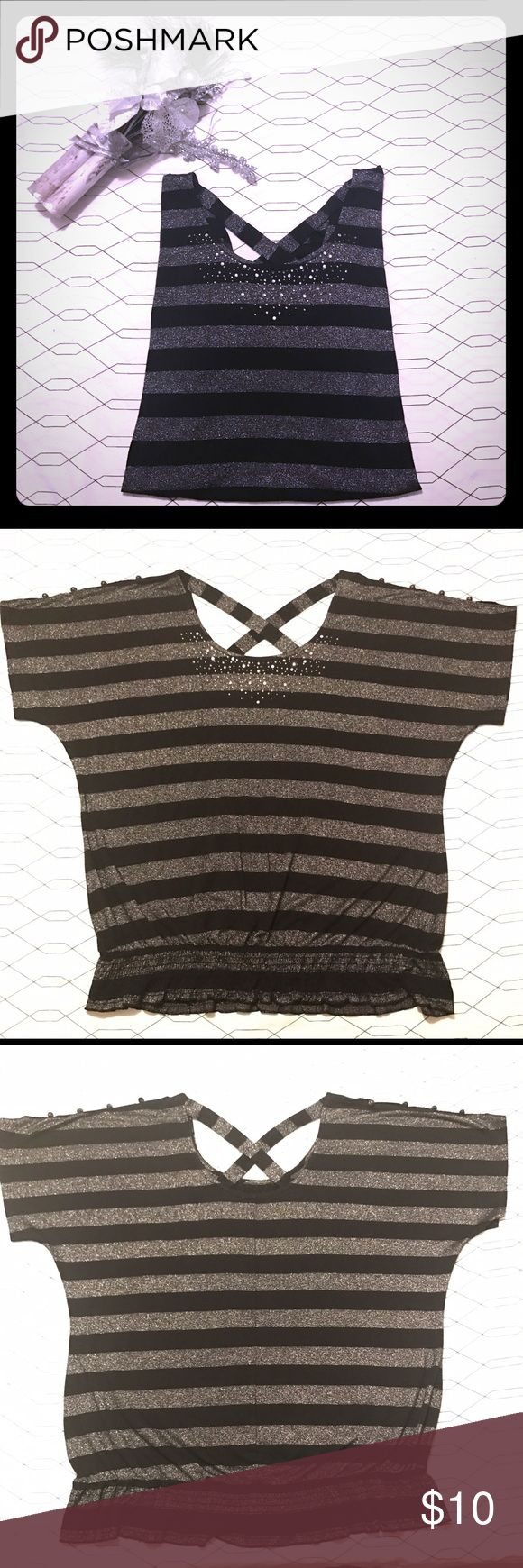**NWOT** Maurice's plus size blouse Beautiful black & silver stripped sparkling blouse in excellent conditions! Size 1X. Embellished with rhinestones on the chest, X back, & open button down sleeves. From a smoke free, pet friendly home ❤️ Maurices Tops Blouses