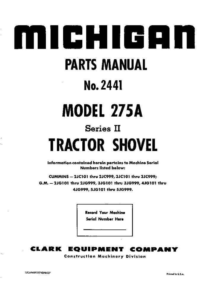 MICHIGAN 275AII 2441 WHEEL LOADER Parts Manual PDF