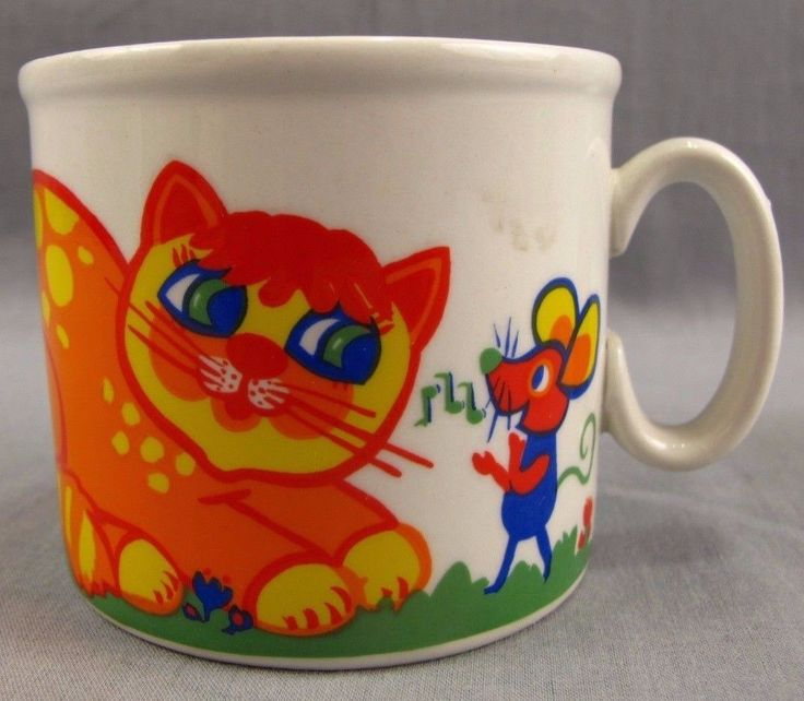 Whimsical Cat & Mouse Vintage Mug Coffee Cup Gubor Vom Studio Fischer Colorful