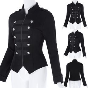 Womens Victorian Gothic Steampunk Military Cotton Tailcoat Coat Jacket Black