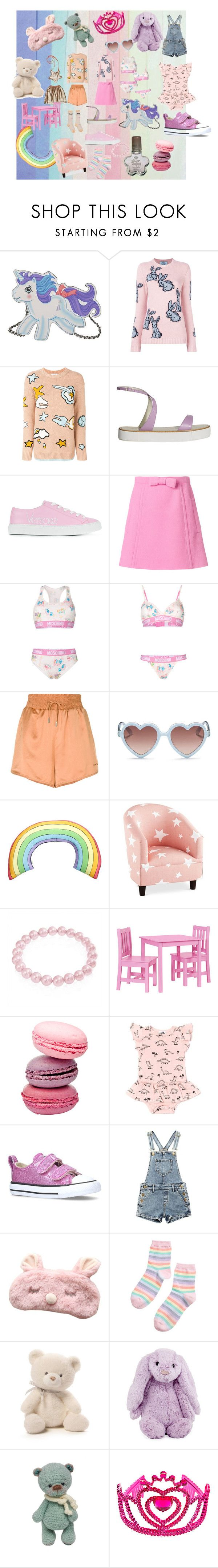 """""""Kidcore"""" by bellafeye on Polyvore featuring Moschino, Prada, Coach, TIBI, Versace, Miu Miu, Off-White, Sons + Daughters, Silken Favours and Sparrow & Wren"""