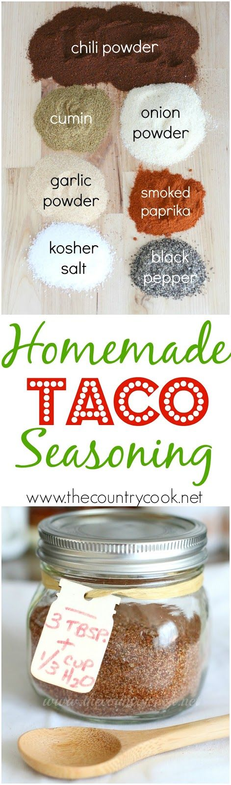 Homemade Taco Seasoning recipe from The Country Cook. Gluten-free, preservative-free but you  still get ALL the flavor! Makes for the best homemade tacos!: