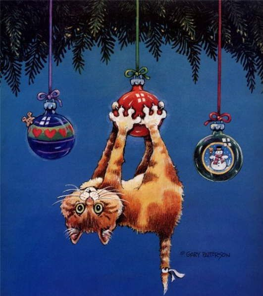 """An illustration by Gary Patterson-good title would be """"Hang In There"""" For someone going through tough times at Christmas-G"""