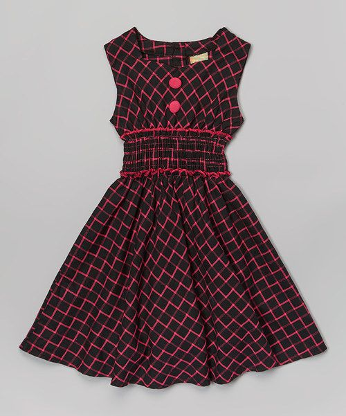 Look at this Black & Hot Pink Windowpane Sweetheart Dress - Toddler & Girls on #zulily today!