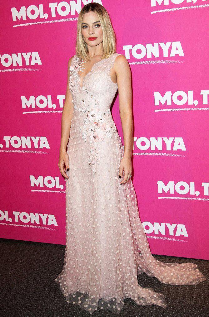 Margot Robbie in a blush pink Rodarte dress
