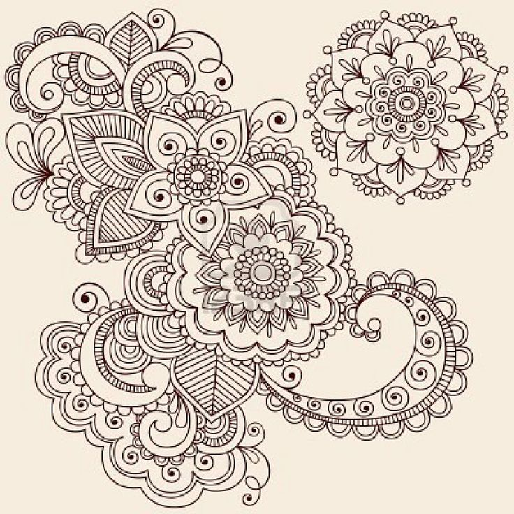 Hand-Drawn Intricate Abstract Flowers and Mandala Mehndi Henna Tattoo Paisley Doodle - Illustration Stock Photo