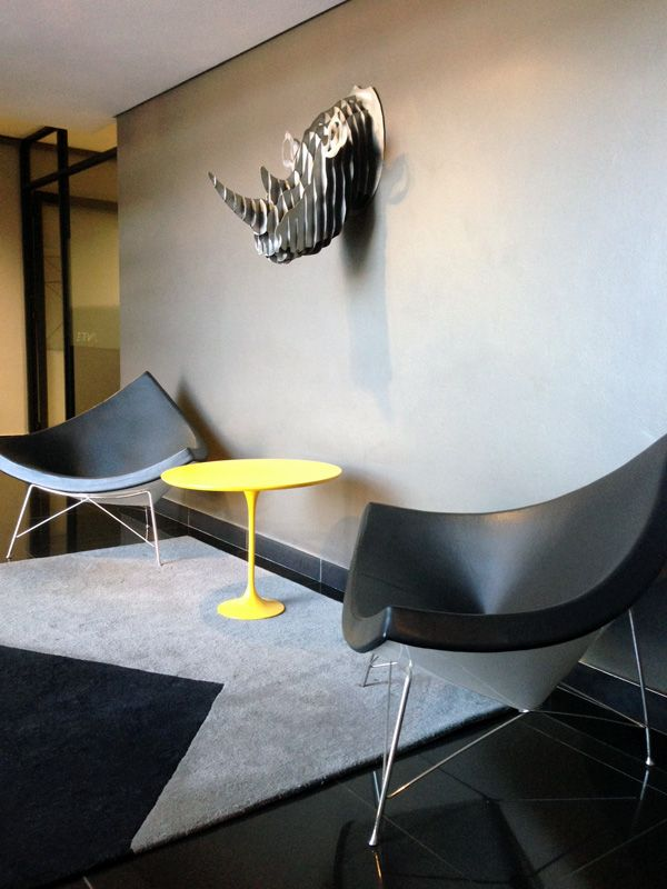 Waiting area - Coconut chairs by Greencherry Interiors http://greencherrylife.com/