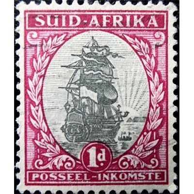 South Africa, Ship, postage stamp 1d, 1930 used VF