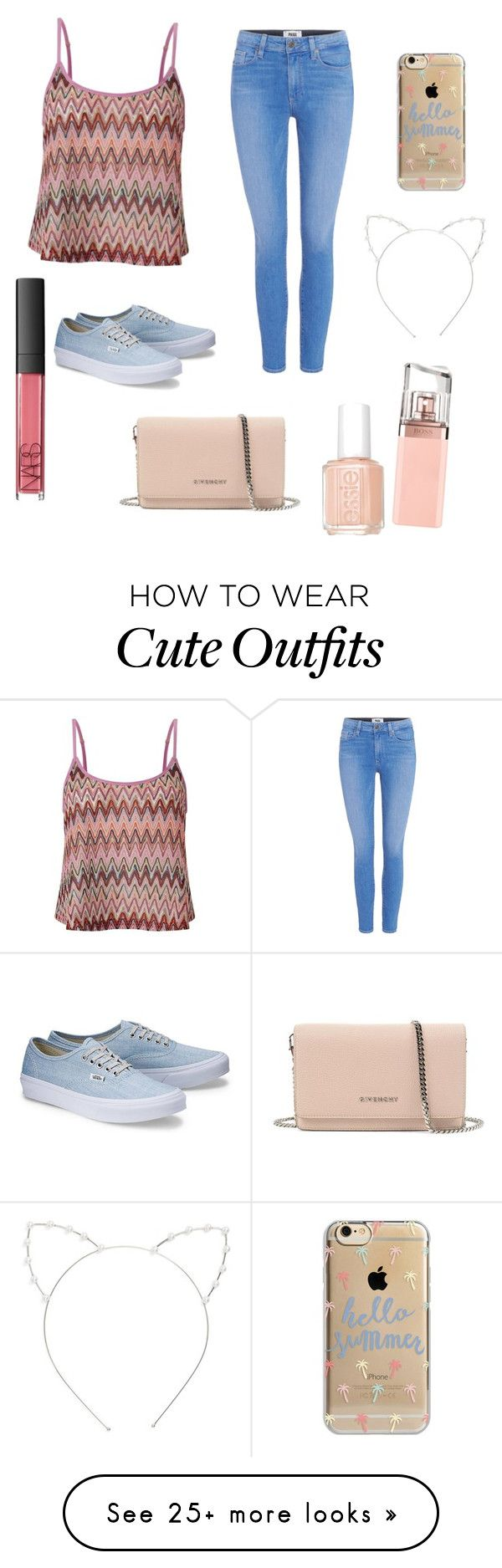"""Cute Summer Outfit"" by lsantana13 on Polyvore featuring Lipsy, Paige Denim, Givenchy, Agent 18, Cara, HUGO, Essie and NARS Cosmetics"
