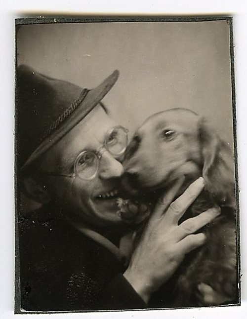 Photo Booth Picture - Man & Dachshund.