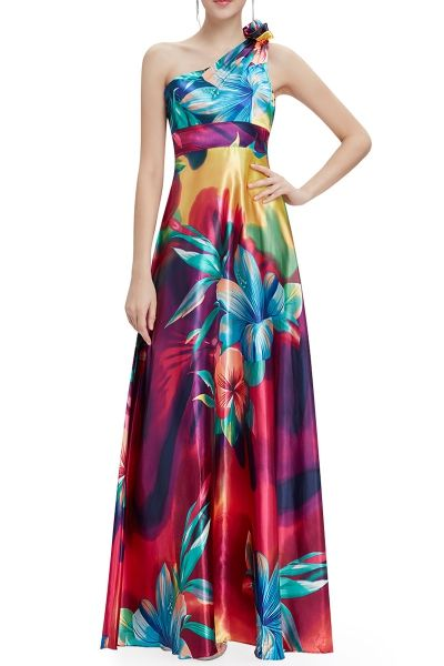 One Shoulder Floral Evening Dress - COLORMIX 2XL