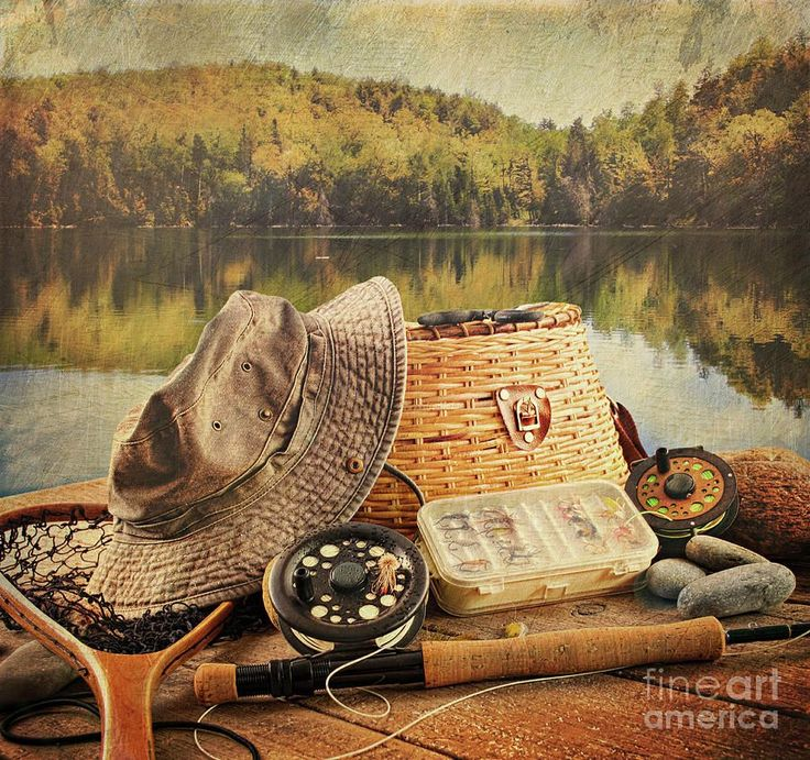 Vintage Fly Fishing Art | ... Photograph - Fly Fishing Equipment With Vintage Look Fine Art Print