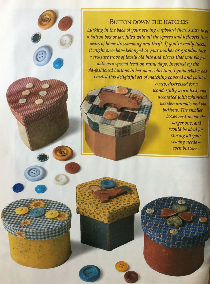 Button Down the Hatches.  Lynda Maker.  Decorated boxes.  Handmade Jan/ Feb 1996 Vol 12 no 1