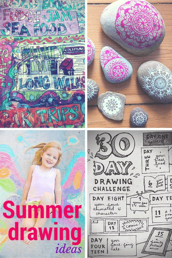 Ideas & prompts for Summer drawings for kids of all ages: stone mandalas, holiday art journal, sidewalk chalk props & a 30 day drawing challenge for the whole family.