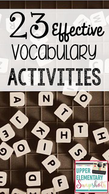 Upper Elementary Snapshots: 23 Effective Vocabulary Activities