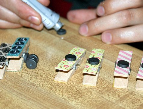 DIY Handmade Washi Tape Clothespin Magnets Craft Project