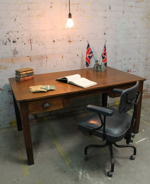 vintage office desks. add a touch of industrial vintage flair with this oak office desk desks
