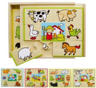 Dřevěné puzzle v krabičce - Co kam patří (4x7 dílků)