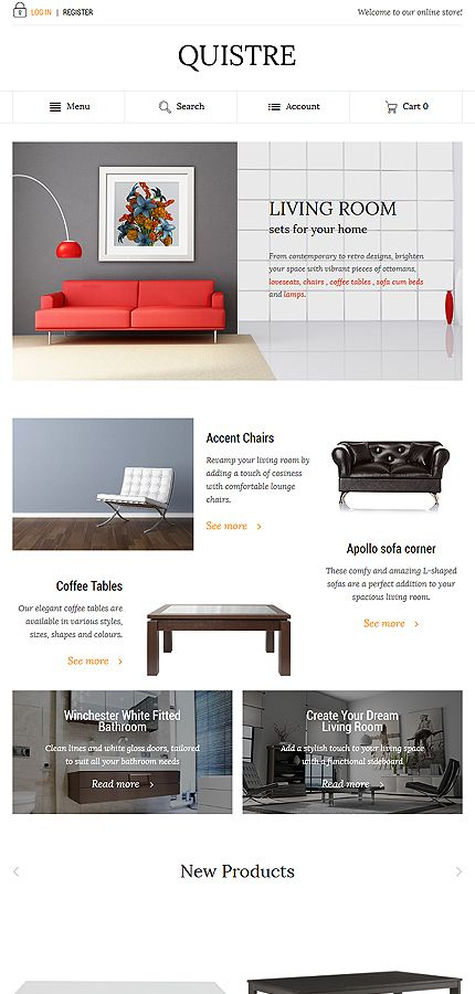 Interior & Furniture website inspirations at your coffee break? Browse for more Magento #templates! // Regular price: $179 // Sources available: .PSD, .XML, .PHTML, .CSS #Interior & Furniture #Magento