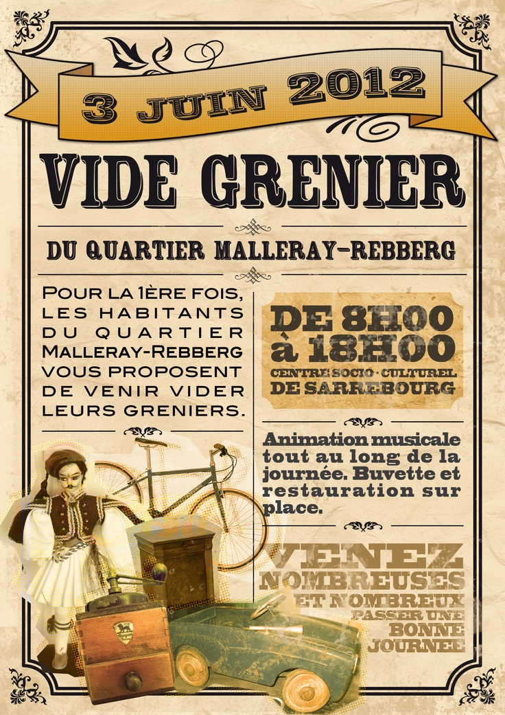 affiche vide grenier imprimables pinterest. Black Bedroom Furniture Sets. Home Design Ideas