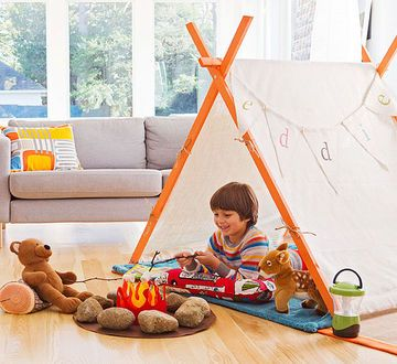 Every cub needs a cozy den for reading, dreaming, and sharing secrets with real and imaginary friends. A. Create a kid cave by tossing an old blanket over a table or set up an indoor tent. This reasonably priced wood-frame model comes in lots of colors and is made in the U.S. (Twelve Timbers, $64). B. Our felt campfire sparks the imagination and might prompt some fireside storytelling sessions. (See next slide for instructions.)