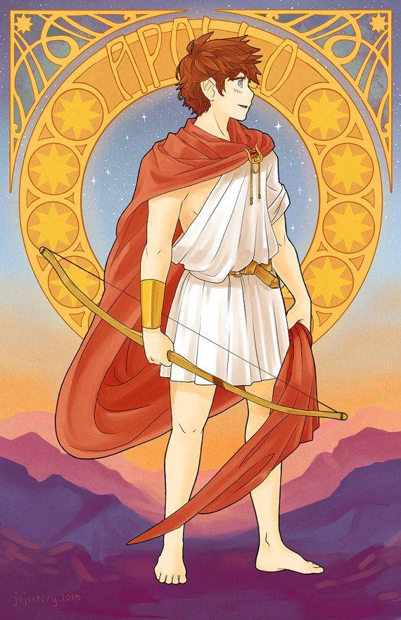 Apollo Greek God Greek Mythology Art Nouveau Poster Art Nouveau Print Mucha Mythology Anime Print Anime Poster Manga Poster Art Mythologie Grecque Divinite Grecque Mythologie Grecque Dieux