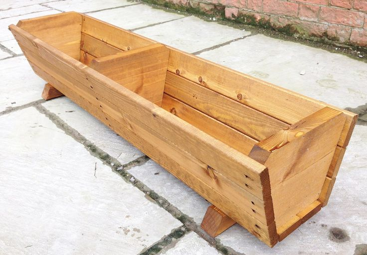 120cm Large Wooden Trough Planter