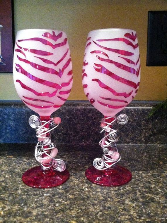 Funky wine glasss wine and etsy - Funky champagne flutes ...